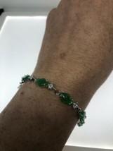 Vintage Jade Bracelet Silver Bronze Clear Crystal  - $64.35