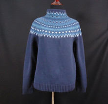 Eddie Baur Lambswool Nordic Ski Sweater Turtle Neck Size Petite Medium PL - $17.95