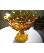 Vintage L.E.Smith Moon & Stars Pattern Amber Pedestal Bowl / Candy Dish ... - $36.62