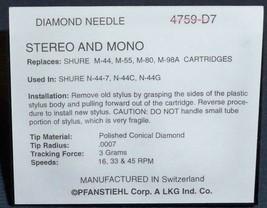 Stereo Needle/Stylus for Shure M-44 M-55 M-80 Cartridge Shure N-44-7 759-D7 4759 image 2