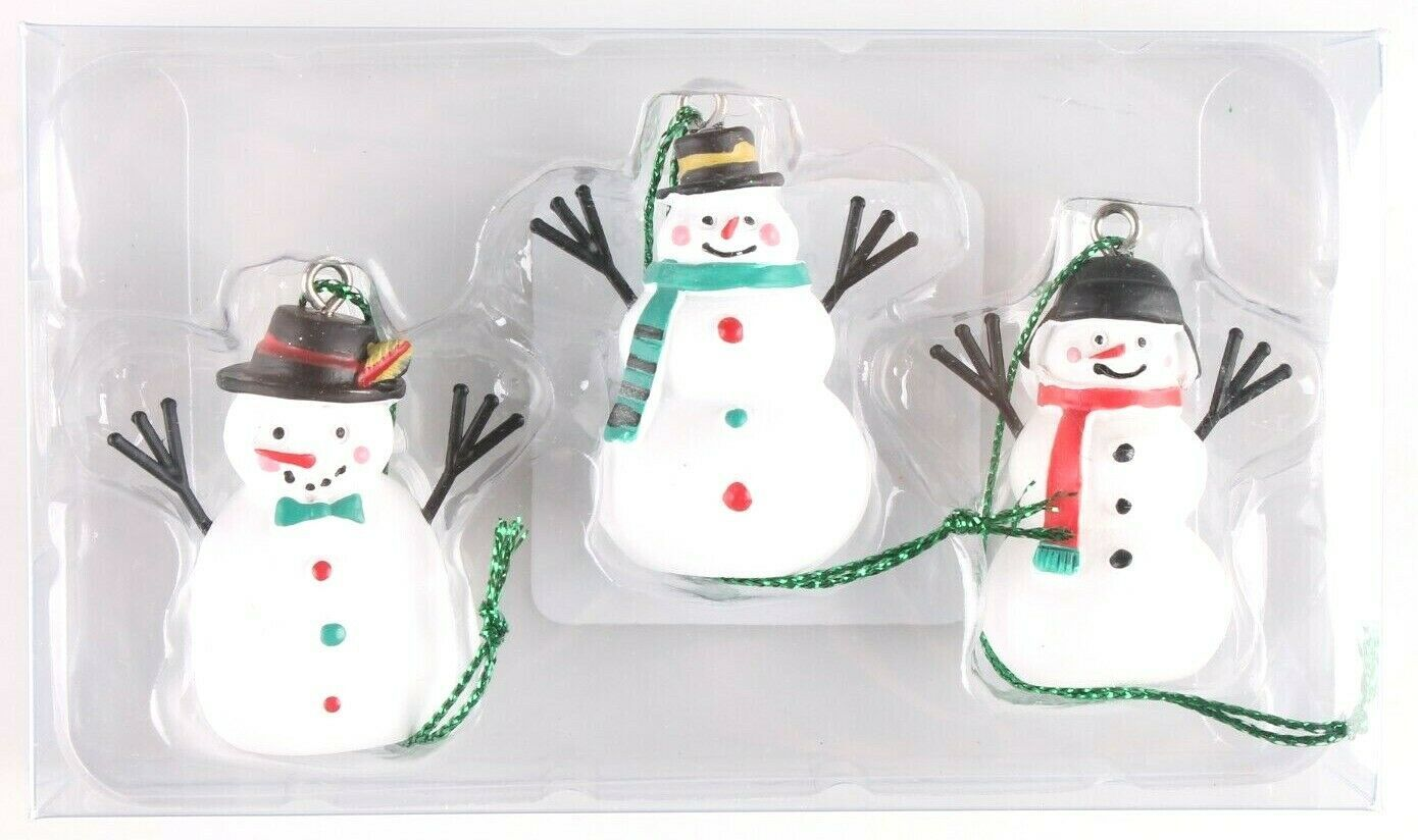 Wondershop Trend Trim 3ct Mini Wooden Snowman Ornaments NEW