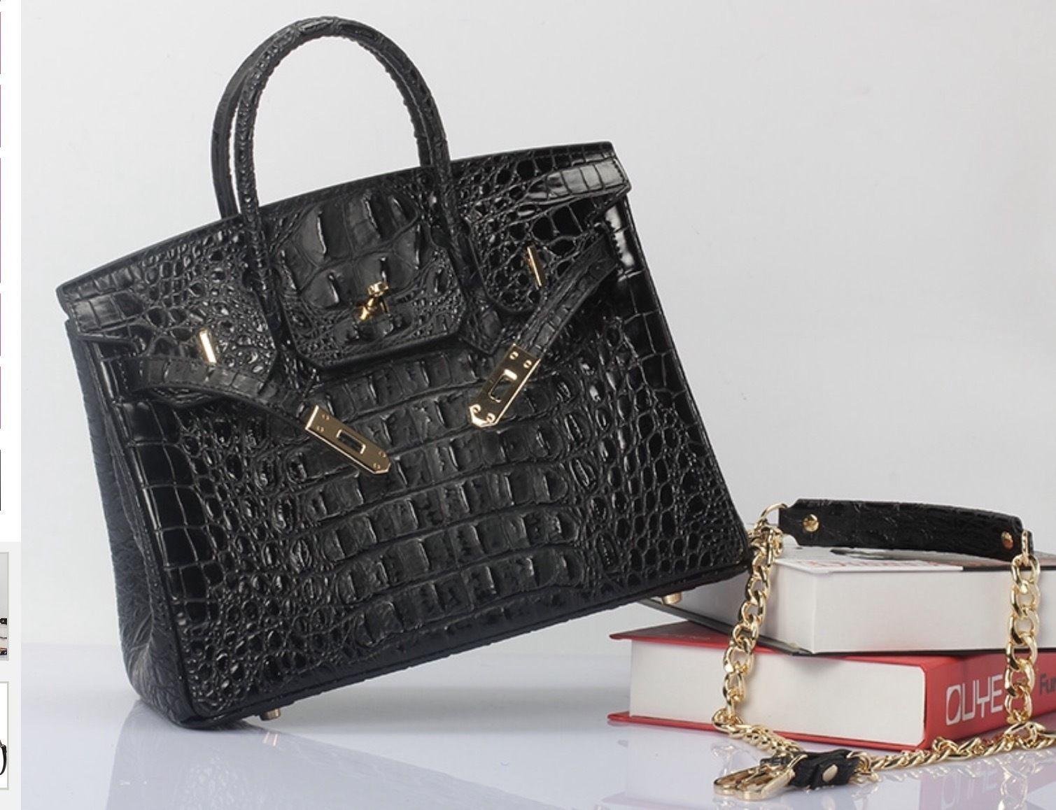 Crocodile Embossed Italian Leather Birkin Style Croc Satchel Handbag 1633S