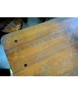 antique WALNUT? AWESOME FOLD-UP SEWING TABLE w/RULER ON TOP SURFACE - $295.00