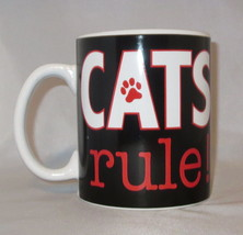 Cats Rule Coffee Mug Cup Large 20 oz Black Paw Print Red Ceramic Oversiz... - $24.74