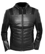 Mens Leather Jacket Arrow Oliver Green Hoodie Black  - $149.99 - $159.99