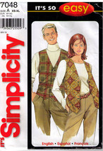 2001 Misses', Men's or Teen's VESTS Simplicity Pattern 7048 Sizes XS-XL ... - $12.00