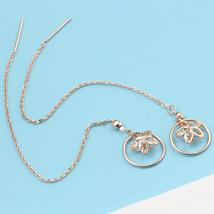 Ear Thread Series 18k Rose Gold Mesh Chain Hollow Star Dangle Earrings image 2