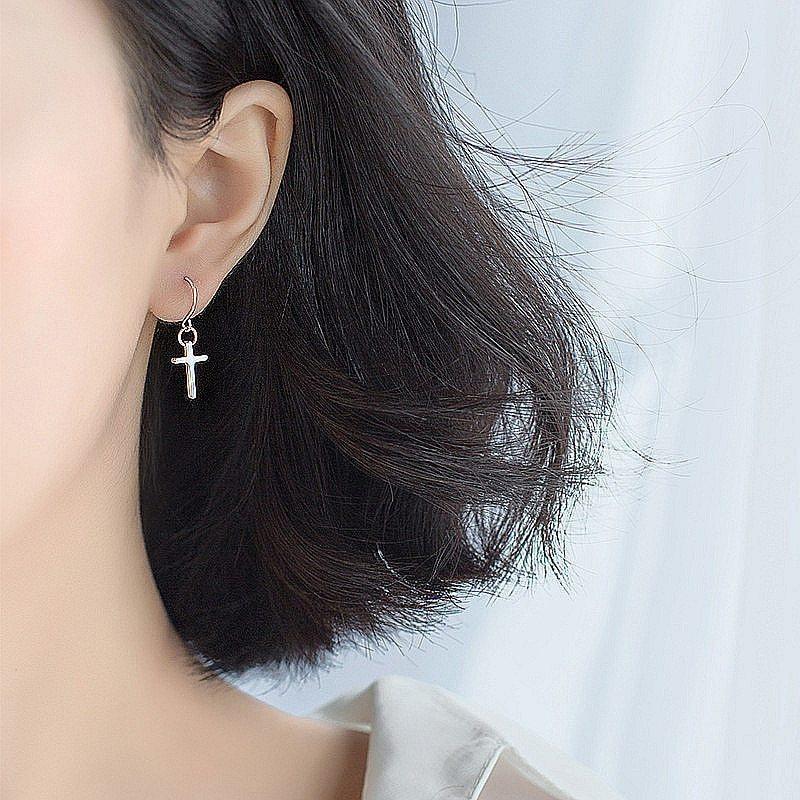 Minimalist Glossy Cross Dangle Drop Earrings For Women Party Mujer Moda 2018 Fas