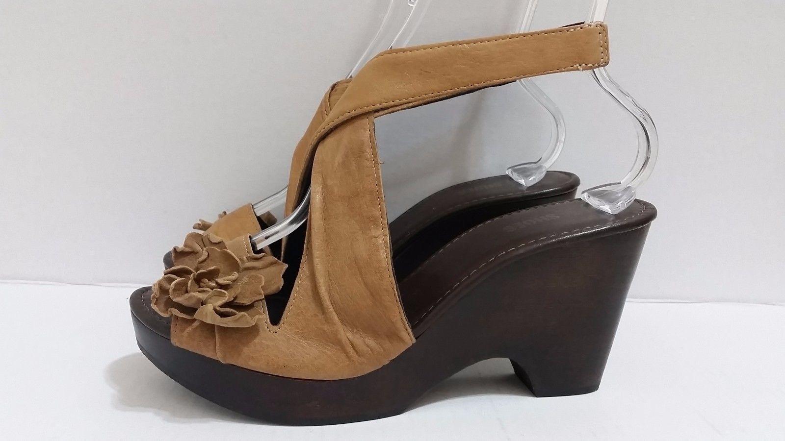 f8dea40d3062 NARA SHOES Brown Leather Sandals Wooden Platform Heels Peep Toe Sling Back  Wrap