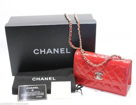 Chanel Mini Flap Bag Red Leather Gold CC Chain Shoulder Bag Purse 2011 - $3,460.05