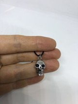 Celtic Vintage Silver Stainless Steel Tiny Skull Amulet Pendant Necklace - $29.70