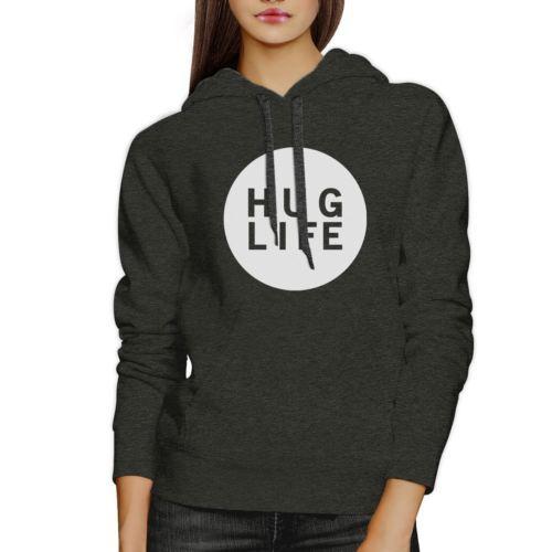 Hug Life Unisex Grey Hoodie Simple Design Life Quote Gift Idea