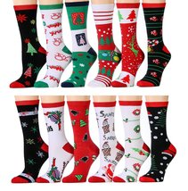 [12 Pairs] Christmas Printed Socks, Fun Colorful Festive, Crew, Knee Hig... - $39.95+