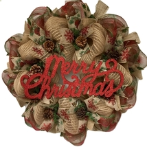 Merry Christmas Rustic Burlap Wreath With Real Pine Cones Handmade Deco ... - $89.99