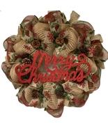 Merry Christmas Rustic Burlap Wreath With Real Pine Cones Handmade Deco ... - $89.99