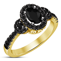 Oval Shape Black Diamond Yellow Gold Plated 925 Silver Women's Engagemen... - £61.33 GBP