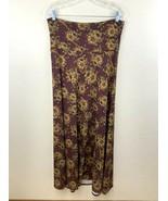 Lularoe M Maxi Skirt Burgundy Rust Golden Tan Black Floral Cottony - $21.99