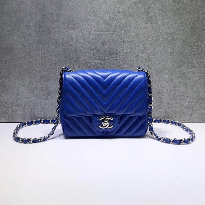 4fb880ab8098 NEW AUTHENTIC CHANEL BLUE CHEVRON QUILTED CAVIAR SQUARE MINI CLASSIC ...