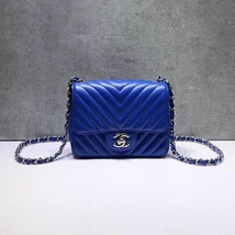 NEW AUTHENTIC CHANEL BLUE CHEVRON QUILTED CAVIAR SQUARE MINI CLASSIC FLAP BAG