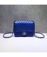 NEW AUTHENTIC CHANEL BLUE CHEVRON QUILTED CAVIAR SQUARE MINI CLASSIC FLA... - $3,888.00