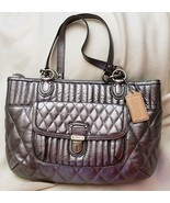 Coach 19857 Poppy Quilted Leather Shopper Tote Gunmetal Silver msrp $358 - $118.80