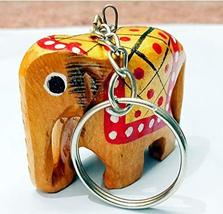 Hand Painted Wooden Elephant Keychain 12 Pieces - $21.77