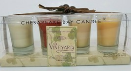 Chesapeake Bay Candle Co 4 Filled Glass Shooters Champagne Pumpkin Pear Autumn - $19.75