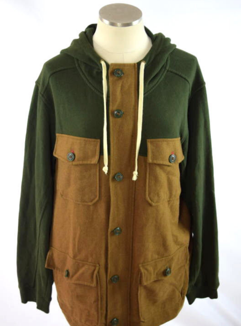 Primary image for Forest Green & Brown ALL-SON Cotton + Wool Full Zip Hoodie Hooded Jacket Coat XL