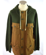 Forest Green & Brown ALL-SON Cotton + Wool Full Zip Hoodie Hooded Jacket... - $35.64