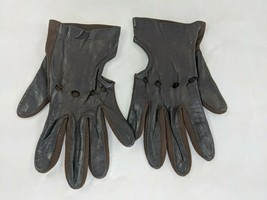 Vintage Brown Leather Gloves Size 7 Made in England - $29.95