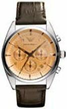 Emporio Armani Men's Classic AR0395 Brown Leather Quartz Watch with Beig... - $124.90