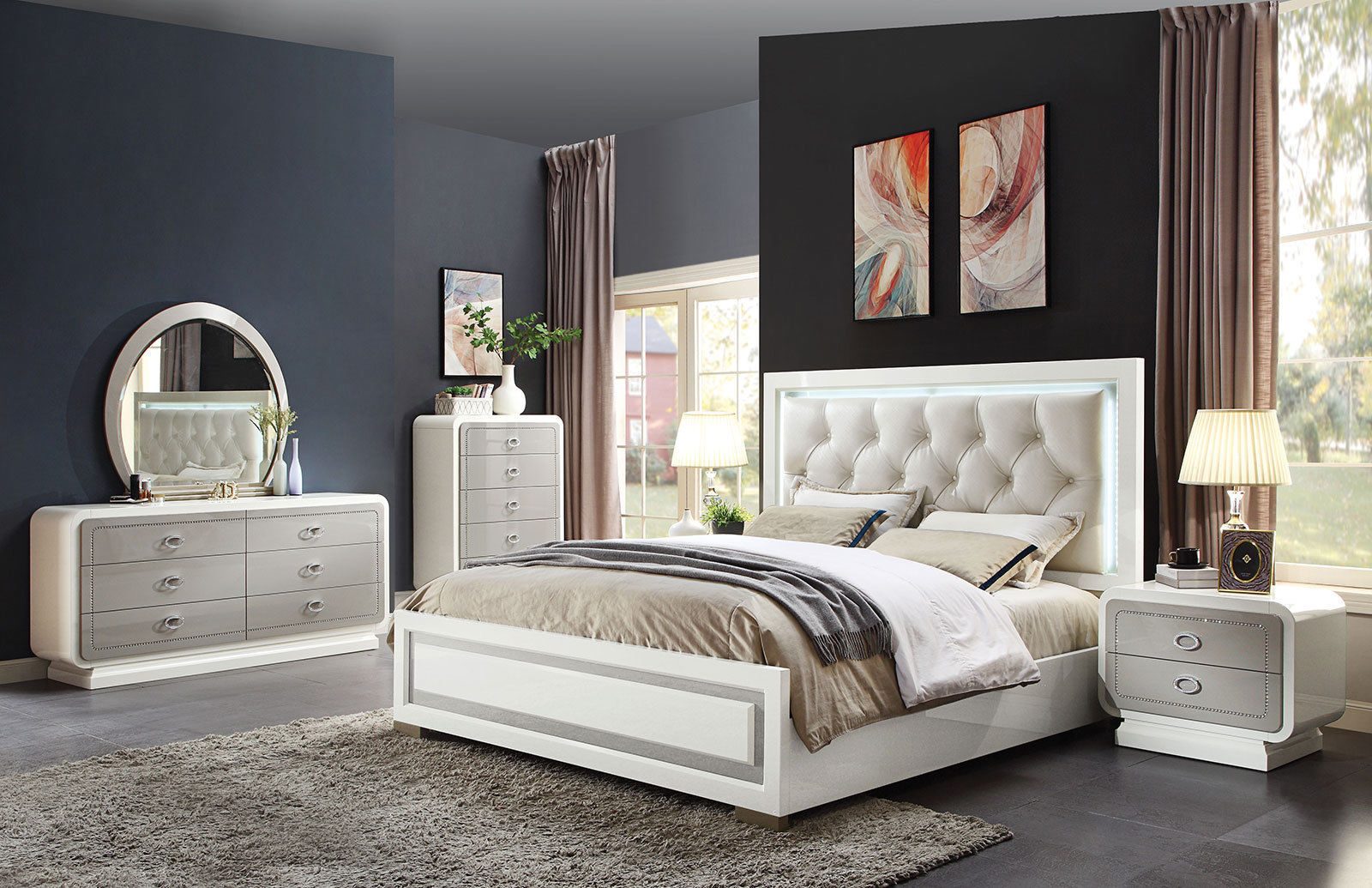 new glossy off white 5 pieces king bedroom set with led