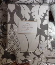 Pottery Barn Set 2 Damask Drape Gray 50x96 Pole Curtain Belgian Linen Sheer Pair - $99.99