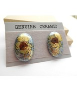 Vintage Genuine Ceramic Blue Gold Brown Flower Oval Pierced Earrings J12 - $14.44