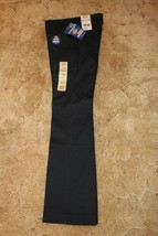 Dickies Girl's School Uniform Flare Flat Front Wide Band Navy Blue Sz 0 ... - $14.80