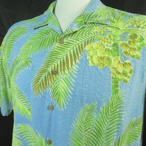 Tommy Bahama XL Blue Hawaiian Shirt Silk Palms Coconut Buttons Collar Loop Aloha - $39.55