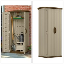 Vertical Outdoor Storage Shed With Doors Shelf Plastic Patio Lawn Tool O... - $239.04
