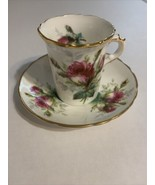 Hammersley Grandmother's Rose Tea Cup and Saucer, Vintage Bone China - $23.28