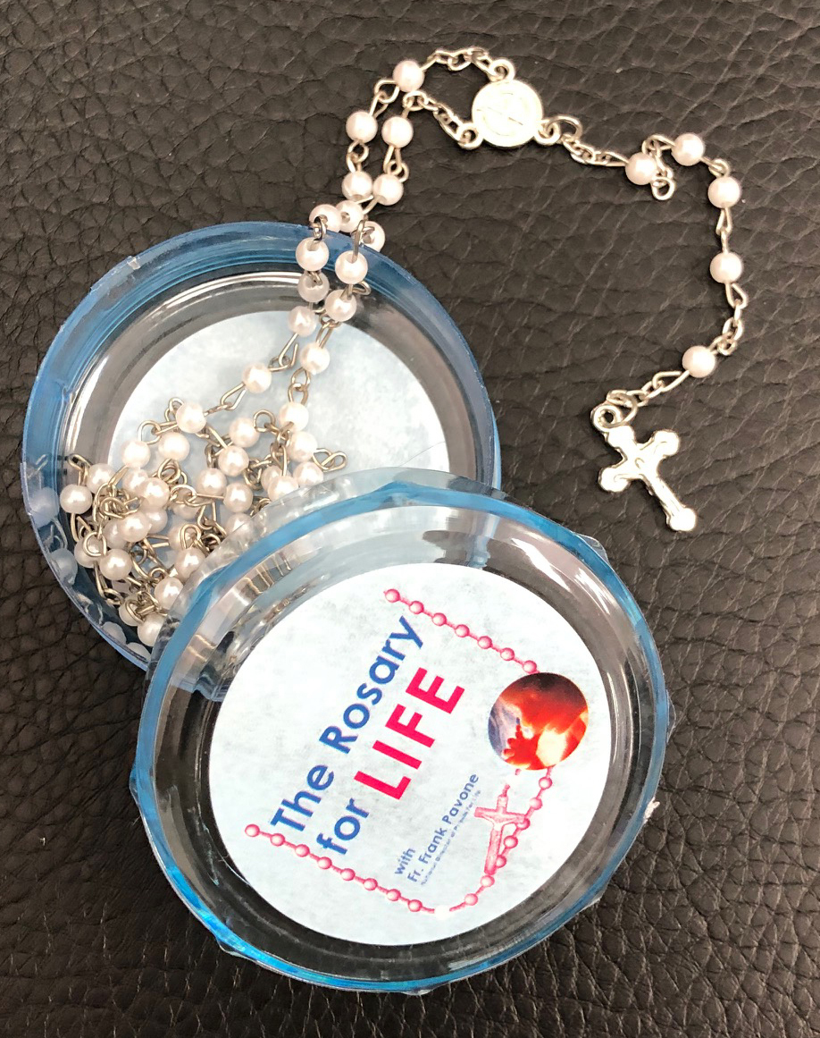 The rosary for life rosary beads white