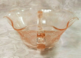 Old Vintage 30s Florentine #1 Pink Depression by Hazel Atlas Cream Soup Nut Bowl image 5