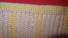 Handmade Crochet Baby Girl Boy Blanket Afghan White Yellow Unisex Newborn Stripe image 9