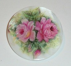 """Pink Roses Flowers Button - Mother of Pearl MOP Shank Button 1+3/8"""" Pret... - $11.87"""