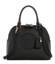 GUESS THORNTON LOGO DOME SATCHEL IN BLACK - $100.00