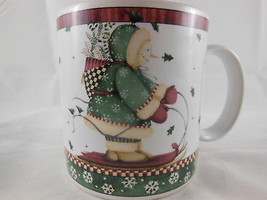 Debbie Mumm Sakura Sledding Character MUG Winter snowman on a sled Chris... - $8.90