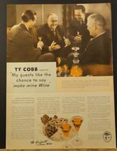 1940 Wines of California Wine Advisory Board TY COBB Baseball Player Pho... - $9.99