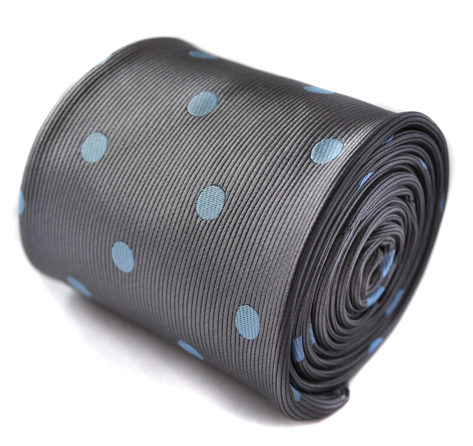 Frederick Thomas Designer Mens Tie - Silver Grey - Light Baby Blue Polka Dot