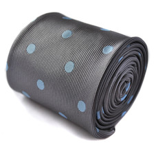 Frederick Thomas Designer Mens Tie - Silver Grey - Light Baby Blue Polka... - $16.49