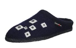 HAFLINGER Geo Ocean BLUE wool slipper Arch Support EU 37 39 - $55.99