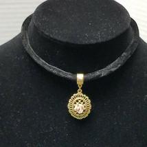 "1928 Co. Porcelain Rose Pendant Gold Tone Accents On Black Velvet Chord 16"" - $18.80"