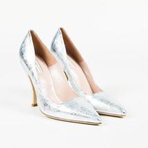 Dries Van Noten NIB Metallic Silver Leather Pointed Toe Pumps SZ 38.5 - $390.00